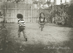 (Krista Cordova Photography) Tags: boy playing fall girl grass kids children fun sister brother running brotherandsister cutekids sisterandbrother hispanicchildren africanamericanchildren