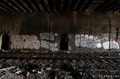 (Into Space!) Tags: street nyc newyorkcity urban ny newyork graffiti photo traintracks tracks tunnel graff hdd bombing throw obese mals fill fillin throwie intospace ftmd intospaces