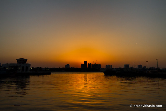 Dubai Creek Sunset Silhouette