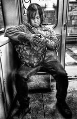 Oskar Matzerath - Scaning for predators in the area - Orange line (Dark-Wing Duck) Tags: street people bw woman white man black bus men public underground subway real island person women ride metro mtl montreal candid secret monotone grayscale hdr sits 514 greyscale fictional iphone wierdo unauthorised greytones graytones