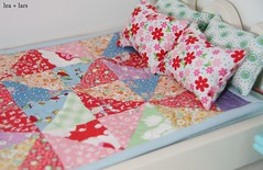 patchwork quilt and pillows for barbie (leaandlars) Tags: christmas wood house girl quilt furniture handmade barbie gift patchwork