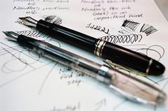 Noodler's Ink Ahab and Montblanc 149 (jjldickinson) Tags: olympusom1 fujicolorpro400 roll438o2 promastermcautozoommacro2870mmf2842 promasterspectrum772mmuv wrigley noodlersink sketch drawing blueblack ink paper canson journal pen fountainpen ahab montblanc 149 meisterstuck diplomat broadnib mediumnib longbeach