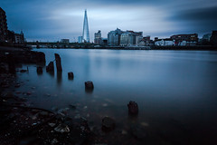 Shard (jellyfire) Tags: city longexposure winter england sky london water thames architecture night canon landscape cloudy unitedkingdom dramatic peaceful southbank unusual lowkey shard groyne atmospheric cheapside 1740mmf4lusm canon5dmkii leebigstopper vision:outdoor=0951 vision:sky=0882 vision:ocean=0835