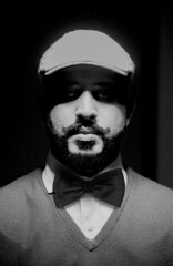 Me By Me (Almuhannad Alkadam) Tags: portrait bw self tie bow