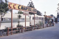 C C Camperland, Harbor Blvd, Garden Grove 1974 (Orange County Archives) Tags: california history historical southerncalifornia orangecounty 1970s trailers campers yesterland orangecountyarchives orangecountyhistory harboroil wernerweiss harbietheharborseal cccamperland woodallratedinspected