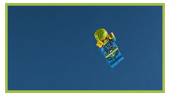 Skydiver (Peter von Kappel) Tags: blue sky brick green fall yellow photoshop canon studio fun toy toys aperture klein raw lego small bricks border adventure plastic story peter gelb 5d dslr spielzeug skydiver tabletop collectable freefall markii minifigure plastik mark2 kappel minifigures customwb legofigur maxerl kappel79