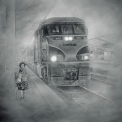 Last Stop (Artypixall) Tags: blackandwhite woman monochrome fog train la losangeles downtown platform amtrak getty passenger unionstation faa