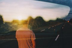 Restless (Louis Dazy) Tags: road sunset film car youth analog sunrise 35mm photography back exposure grain lifestyle double