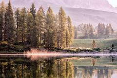 Puffs of mist on the lake (Woodspuller) Tags: mountains reflection sunrise lago san riflessi montagna atmosfera trentino pellegrino passodisanpellegrino