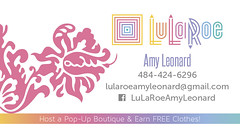 Amy Leonard LuLaRoe Business Card FRONT SIDE (maddieandmarry) Tags: rainbow colors damask gradient fleurdelis ornament lularoe clothing businesscard promotional thankyou note