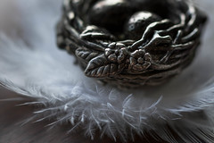 Silver Nest (Captured Heart) Tags: silver silverplate silvernest nest feathers treasure tinytreasure macro macromondays madeofmetal