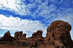 Behind Turret Arch (Patricia Henschen) Tags: windowssection windows section turret arch turretarch clouds archesnationalpark arches nationalpark moab utah winter