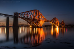 The Forth Bridge (ianrwmccracken) Tags: night queensferry bridge water lowlight structure sea fife scotland bluehour red twilight cantilever steel riverforth railway engineering nikond750 sky reflection