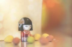 passion flower (rockinmonique) Tags: kimmidoll miniature doll japanese kimono peach yellow orange warm pretty moniquew canon canont6s tamron copyright2017moniquew