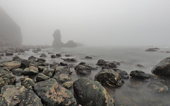 Cheat (M2121812 E-M1ii 8mm iso64 f5.6 1_125s) (Mel Stephens) Tags: 20170312 201703 2017 q1 muchalls aberdeenshire scotland uk coast coastal landscape olympus omd em1ii ii m43 microfourthirds mirrorless mzuiko pro 8mm fisheye fog haar seascape le long exposure modified stacked averaged widescreen best averages average 20162017