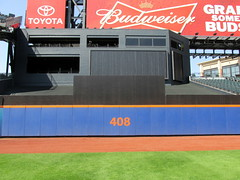 Citi Field, 05/16/13: on-field look at the 408-foot marking in center field (IMG_0879a) (Gary Dunaier) Tags: newyorkcity baseball stadiums queens mets queensborough newyorkmets queensboro ballparks flushing stadia queenscounty citifield
