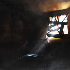 Confined in a Dark Place (melinadesantiago) Tags: old light selfportrait abandoned window hospital dark community place room hidden linda worn vista boarded confined levitate encaged