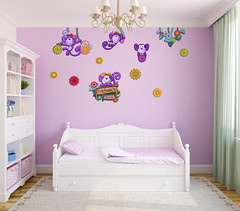 Interior of toddler room. (ZWalls Wall Art) Tags: pink baby white cute home childhood wall comfortable modern carpet design 3d kid bed bedroom toddler colorful child apartment purple bright contemporary interior render empty room nursery decoration violet indoor nobody front storage frontal bookcase decor playroom