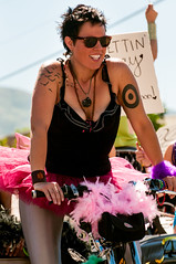 woman on a bike (Sam Scholes) Tags: pink woman girl bike bicycle festival digital utah nikon feathers parade event saltlakecity tutu d300 tutuskirt utahpridefestival2013 utahprideparade2013