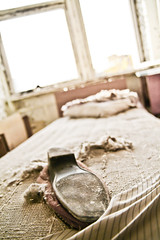 Booking a room at Pripyat hotel (MoraTilTordis) Tags: shoe bed radiation ukraine disaster second chernobyl pripyat    pripyeathotel