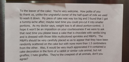 To the leaver of the cake: You're very welcome.