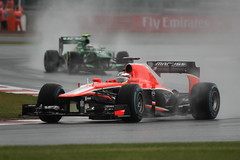 Jules Bianchi (Marussia) and Giedo Van der Garde (Caterham) (glediator) Tags: cars rain track free f1 silverstone practice circuit formula1 britishgrandprix 2013 freepractice