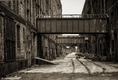 Tobacco warehouse (lovestruck.) Tags: old uk summer england abandoned wall sepia liverpool mono sony bricks tracks railway monotone disused nik decaying tobaccowarehouse 2013 stanleydock rx100 northdocks niksofware silverefexpro2 colorefexpro4 dscsonyrx100