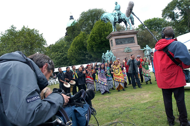 Camera crew filming the choir at the 2004 Edinburgh International Book Festival