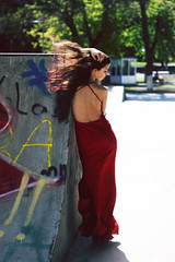 Wind (LikaAvaliani) Tags: red girl beautiful beauty model dress wind sul
