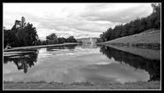 Chatsworth House in Black and White (Kerry711) Tags: england white house black reflection building heritage water fountain statue gardens district derbyshire sony peak alpha bakewell attractions chatsworth a77