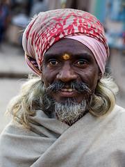 Smile! (Dick Verton) Tags: portrait india man smile face asia mustache snor vision:food=056 travelindiavaranasi