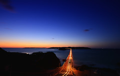 Glittering bridge to the island [Tsuno-Shima] (Yohsuke_NIKON_Japan) Tags: ocean longexposure sunset nature beautiful japan nikon dusk yamaguchi magichour tsunoshima d600 下関 japansea 1635mm 山口県 bluemoment 角島 nanocrystalcoat