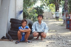 On the road to Pelabuhan Ratu (kentclark333) Tags: man boys indonesia java pelabuhanratu