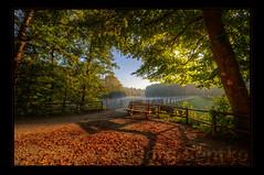 Better late... (Kemoauc) Tags: autumn light shadow red green fall leaves sunrise bench nikon hdr jrg topaz hbm photomatix d300s kemoauc sentko