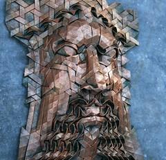 aelfred 2 (origami joel) Tags: face paper origami mask joel cooper tessellation origamijoel