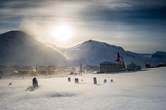 Memories in Longyearbyen (Tommy Hyland) Tags: sunset snow storm mountains cold ice church evening ruins halo svalbard lonely northern artic isolated coalmine horizen longyearbyen northpole spitzbergen icecold