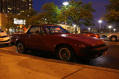 TR7 (Flint Foto Factory) Tags: world city red urban chicago black english classic sports car night vintage evening store illinois spring memorial day nocturnal top north broadway may convertible uptown triumph 1981 british intersection montrose grocery monday gym 1980 sheridan import 1979 coupe jewel 2014 osco drophead tr7 worldcars