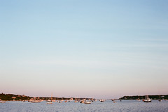 (Doug J.) Tags: ocean sunset sea film water 35mm canon boats eos rebel evening harbor boat marthas vineyard fuji dusk superia g 400 40mm xtra
