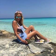 by the beach lovebyn (Love by N) Tags: sea summer flower beach fashion shop photography sandals egypt bikini pineapple denim swimsuit zara swimwear travelblog overall sahel northcoast fashionblog lovebyn