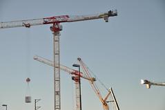 Cranes in the morning light (viliris) Tags: crane cranes blue sky angles metal geometry manmade morninglight spring nydalen oslo