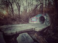 rust-o-muse...(HSS) (BillsExplorations) Tags: sinnissippipark rockriver graffiti rust slidersunday slide hss park trees illinois sterling sunset threestooges strange odd tagging