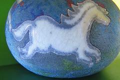 Macro Monday: Glaze (Hayseed52) Tags: macromonday glaze pot raku horse crackle blue green pottery art