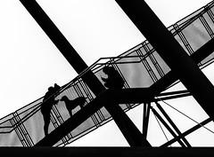 Leckerli (tan.ja1212) Tags: tetraeder bottrop treppe geländer mädchen junge hund frau mann schwarzweis stahl gegenlicht stairs railing girl boy dog woman man monochrom steel backlight deutschland ruhrpott