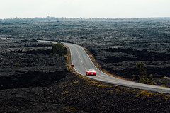 Car and Crater (Geoff Sills) Tags: car crater mustang red sports convertible drive driving open road bend landscape volcanoes national park hawaii desert nikon d700 70200 vrii 28 geoffrey william sills geoff illumeon digital illumeondigital