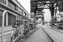 Industry (PKpics1) Tags: bristol crane industry bw bike track rail