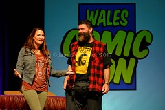 Amy Dumas and Mick foley (James O'Hanlon) Tags: wales 2017 comic con wrexham opie ryan hurst game thrones mick foley lita amy dumas john rhys davies buffy event photos pictures