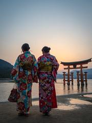 Kimono Sunset - Miyajima, Japan (simonanger) Tags: japan miyajima travel travelphotography microfourthirds olympus kimono sunset goldenhour torii floating