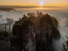 Foggy Rocks in the Morning-Sun (lens73germany) Tags: 365 365tage 365days project365 3652015 365daysproject fotodestages photooftheday 366 366tage 366days project366 3662015 366daysproject farbe bunt color colorkey olympus omd em5 mft landscape landschaft outdoor natur deutschland germany allemagne dresden sachsen saxony spiegelung reflektion reflection sächsische schweiz bastei felsen rocks mountain berge nebel fog mist sun sunrise sonnenaufgang