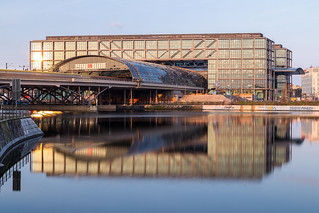 Berlin central station reflecting in Humboldt harbour
