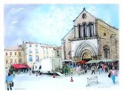 Saint Sever - Aquitaine - France (guymoll) Tags: saintsever aquitaine france place marché église roman aquarelle watercolour watercolor aguarela croquis sketch